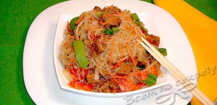 фунчоза с фаршем и корейской морковкой рецепт