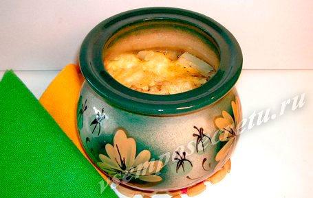Картофель в горшочке с курицей и грибами