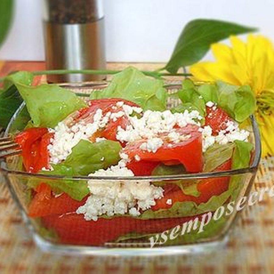 салат из помидоров с творогом